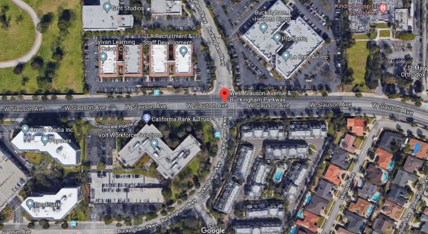 One person was killed early Tuesday, Nov. 28, 2017, in a single-car crash near Slauson Avenue and Buckingham Parkway in Culver City. (Google Maps)