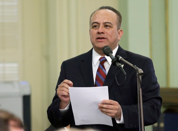 In this Thursday, May 4, 2017, file photo, now-former Assemblyman Raul Bocanegra, D-Pacoima speaks at the Capitol, in Sacramento. (AP Photo/Rich Pedroncelli, File)