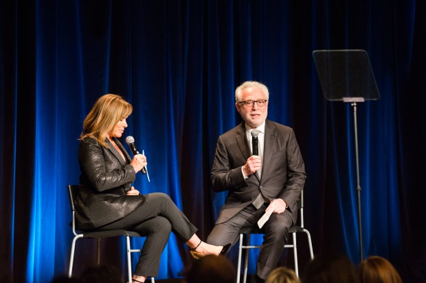 CNN anchor Wolf Blitzer is interviewed by emcee and entertainment journalist Melissa Rivers Sunday night, Nov. 6, 2017, at the Los Angeles Museum of the Holocaust's annual gala in Beverly Hills. (Photo courtesy of Gina Cholick)