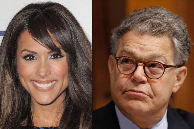 Leeann Tweeden, left, and Sen. Al Franken, D-Minn. (Invision and Ap File Photos)