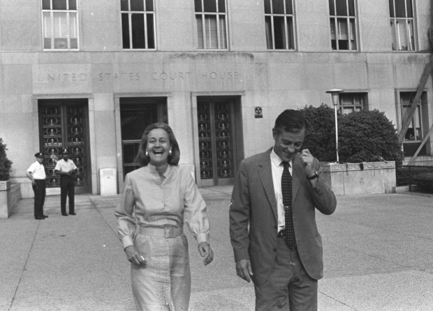 ORG XMIT: NY122 RETRANSMISSION TO FIX SPELLING OF KATHARINE--FILE--Then Washington Post Publisher Katharine Graham and Execuctive Editor Ben Bradlee leave U.S. District Court in Washington June 21, 1971 , happy with Judge Gerhard A. Gesell's ruling the the paper could publish further articles based on the Pentagon papers on Vietnam. Graham, who deftly steered The Washington Post through the tumult of the Pentagon papers and Watergate and built it into a leading force in American journalism, died Tuesday, July 17,2001. She was 84. (AP Photo/Bob Daugherty)
