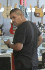 "This photo from a surveillance video shows Enrique Jason Velasco, suspected of being the ""guitar bandit."" Velasco was arrested by Pasadena Police detectives Nov. 1, 2017, in Sun Valley."