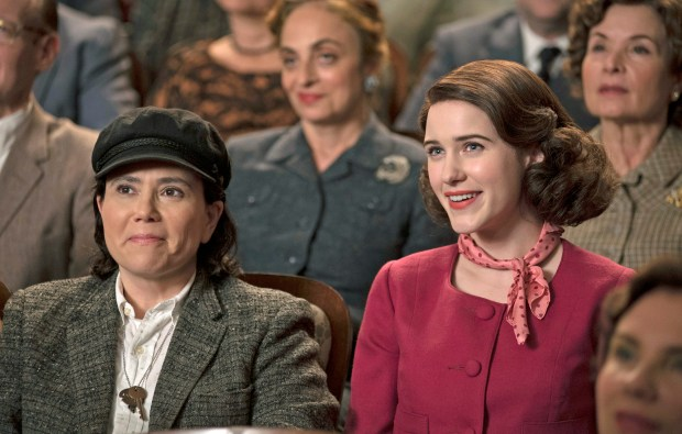 "Alex Borstein and Rachel Brosnahan in Amazon's ""The Marvelous Mrs. Maisel."""