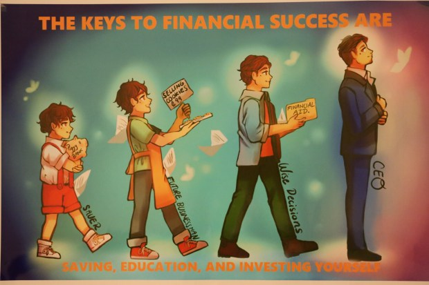 Mariah Rosario, a student at Eleanor Roosevelt High School in Eastvale, took first place in the high school category of the 11th annual Credit.org2017 Financial Literacy Poster Contest with this computer generated drawing of the evolution of a kid growing to a successful businessman. (Photo courtesy of Clarissa Rosario)