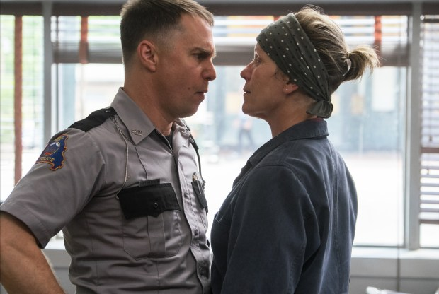 "This image released by Fox Searchlight shows Sam Rockwell, left, and Frances McDormand in a scene from ""Three Billboards Outside Ebbing, Missouri."" Photo courtesy of Merrick Morton/Fox Searchlight via AP"