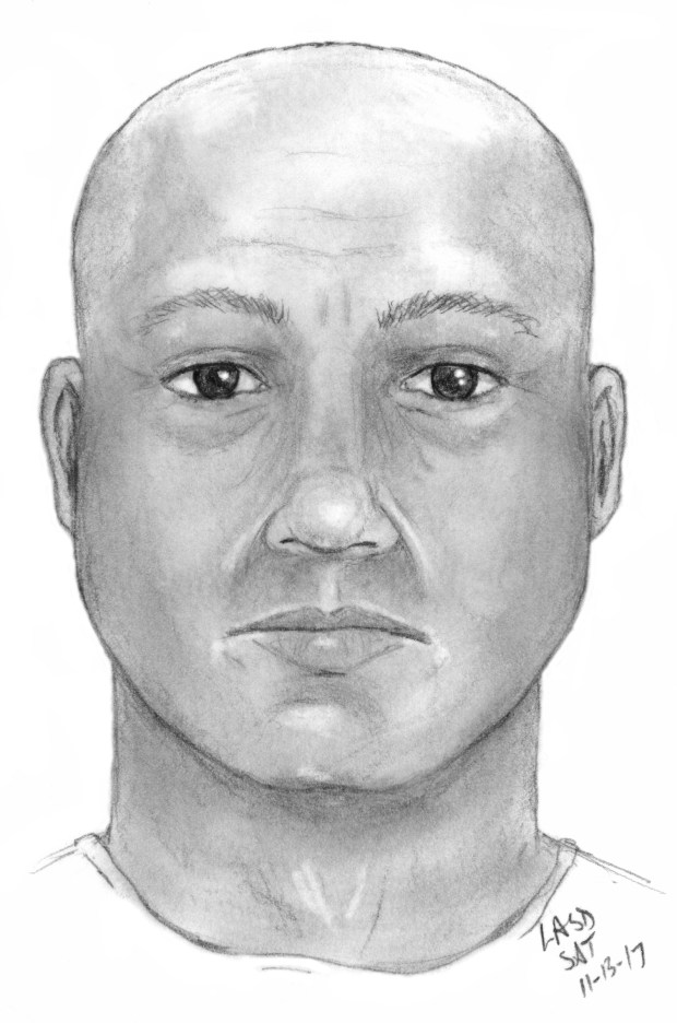 The California Highway Patrol is seeking the man pictured in this composite sketch after he pulled  over a woman while impersonating a police officer on the 105 Freeway in Downey on Nov. 7, then sexually assaulted the victim. (Courtesy, CHP)