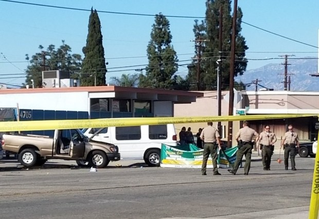 A man estimated to be in his 60s died after being thrown from his truck in a two-vehicle crash at Durfee Avenue and Olympic Boulevard in Pico Rivera on Saturday, Nov. 18, 2017. (Courtesy of Danny Trujillo)
