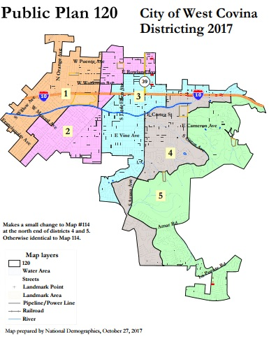 The City Council adopted public map No. 120 as the city's district map for elections starting in 2018. (Courtesy of the City of West Covina)