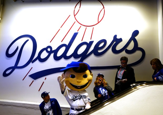 The Dodger mascot prior to game six of a World Series baseball game at Dodger Stadium on Tuesday, Oct. 31, 2017 in Los Angeles. (Photo by Keith Birmingham, Pasadena Star-News/SCNG)
