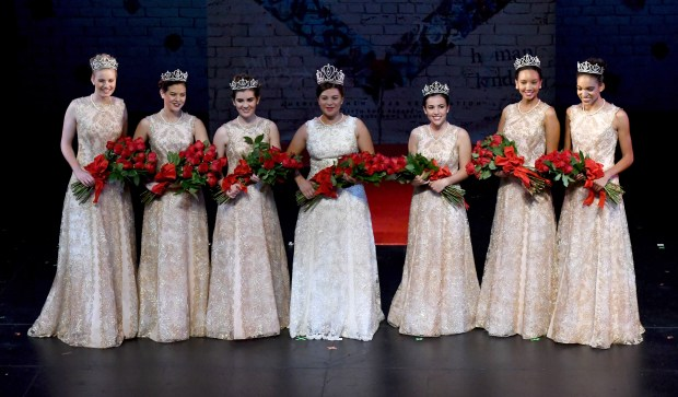 2018 Rose Queen Isabella Marie Marez of La Salle High School, center with her Royal Court from left are Rose Princess Georgia Jane Cervenka, left, of La Canada, Rose Princess Sydney Grace Pickering second from left, of Arcadia High School, Julianne Elise Lauenstein of La Canada High School along with Alexandra Marie Arturo of Flintridge Sacred Heart Academy, Savannah Rose Bradley of Pasadena High School and Lauren Elizabeth Buehner, right, of Arcadia High School 100th Rose Queen coronation by Tournament of Roses President Lance Tibbet at the Pasadena Playhouse in Pasadena, Calif., on Wednesday, Oct.18, 2017. (Photo by Keith Birmingham, Pasadena Star-News/SCNG)