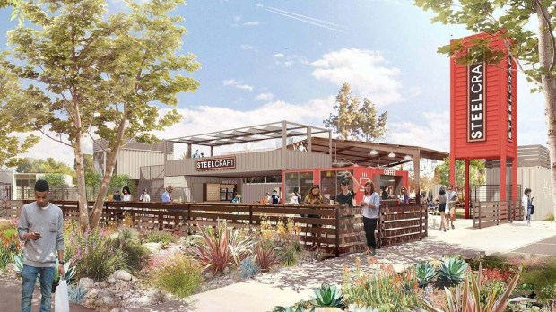 SteelCraft Garden Grove will include artisanal retailers and restaurants selling goods from cargo containers as long as 40 feet on a 1.8-acre lot behind City Hall. (Rendering courtesy Studie One Eleven)