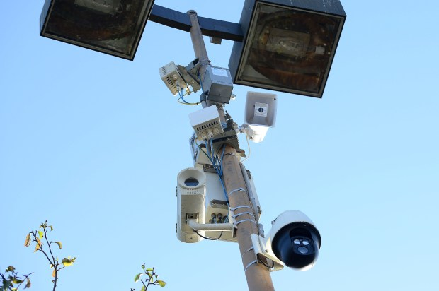 Anaheim is testing surveillance cameras in three parks - Brookhurst, Twila Reed and Maxwell - after crime problems including the shooting of a young girl in 2014. These cameras are in Brookhust Park. /Photo by Bill Alkofer, The Orange County Register/SCNG