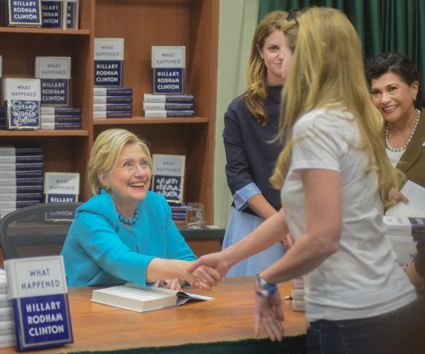 "Hillary Clinton signing copies of her book, ""What Happened"", at Vroman's Bookstore in Pasadena Friday, December 1, 2017 (Photo by Walt Mancini/Pasadena Star-News/SCNG)"
