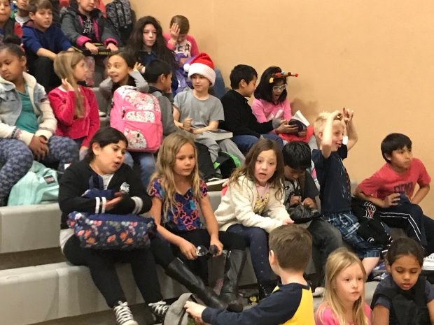 Students from some closed elementary schools were being hosted at other LAUSD campuses. Children from Apperson Street Elementary, which was closed Wednesday, Dec. 6, 2017, due to the Creek fire above Sylmar, were spending the school day at U.S. Grant High School in Valley Glen. (Photo courtesy of Grant High Principal Pamela Damonte)
