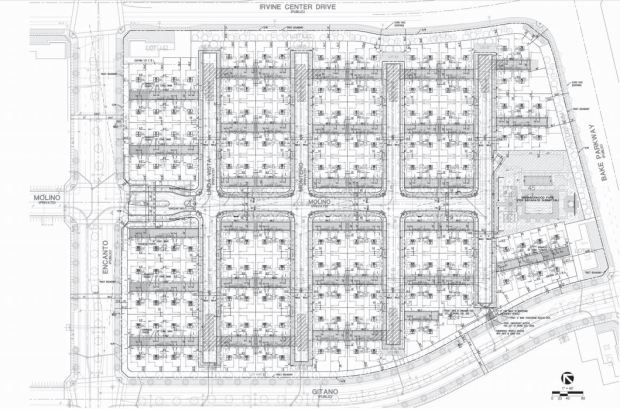 The image shows the layout of the Irvine Co.'s proposed 169-unit condominium community at the Los Olivos development. (Image from the city of Irvine)