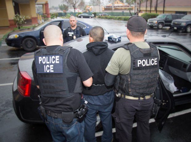 In this Tuesday, Feb. 7, 2017, photo released by U.S. Immigration and Customs Enforcement shows foreign nationals being arrested this week during a targeted enforcement operation conducted by U.S. Immigration and Customs Enforcement (ICE) aimed at immigration fugitives, re-entrants and at-large criminal aliens in Los Angeles. Immigrant advocates on Friday, Feb. 10, 2017, decried a series of arrests that federal deportation agents said aimed to round up criminals in Southern California but they believe mark a shift in enforcement under the Trump administration. (Charles Reed/U.S. Immigration and Customs Enforcement via AP) ORG XMIT: LA513
