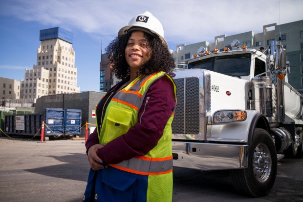 Tammy Cameron is a truck driver for DTC Trucking. She is currently hauling materials for the Metro Purple Line project in Mid-Wilshire. (Photo by David Crane/Los Angeles Daily News-SCNG)