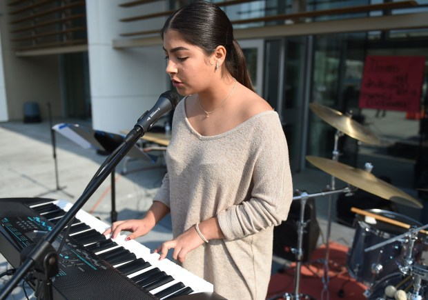 Angela Jailyn Sanchez performs at Leuzinger High School during a fundraiser for a plaque honoring Lawndale's now-famous homeless man, Mike Juarez. Part of the money is also benefitting Sanchez and her student endeavors. Lawndale December 16, 2017. Photo by Brittany Murray, Daily Breeze/SCNG