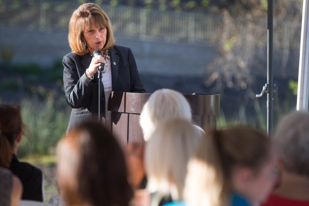 Senator Pat Bates speaks during a drug overdose awareness memorial at Crown Valley Park in Laguna Niguel earlier this year. (Photo by Drew A. Kelley, Contributing Photographer)