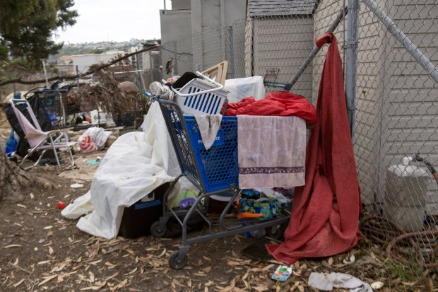Signs of homelessness can be seen throughout the city of Dana Point, where the fortunate and the unfortunate often clash. (Photo by Mindy Schauer, Orange County Register/SCNG)