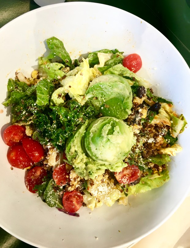 "Avocado & Quinoa Superfood Ensalada at Mendocino Farms in Tustin. One of three ""thrilling"" foods of 2017 for Nancy Luna, restaurant writer for the OC Register."