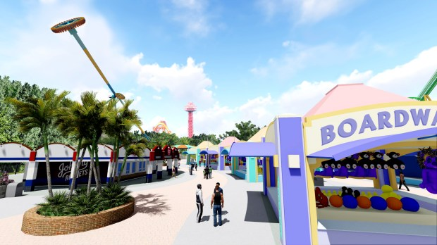 Artist rendering of Six Flags Magic Mountain's newly themed Boardwalk area set to open in 2018. (Courtesy of Six Flags Magic Mountain)