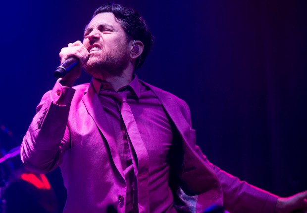 Rock supergroup Dreamcar, which features AFI frontman Davey Havok and No Doubt players Tom Dumont, Tony Kanal and Adrian Young, made its live debut at the Observatory in Santa Ana on Wednesday, April 5. (Photo by Matt Masin, Orange County Register, SCNG)