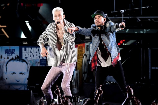 Machine Gun Kelly (left) performs alongside Linkin Park's Mike Shinoda during the Linkin Park and Friends Celebrate Life in Honor of Chester Bennington at the Hollywood Bowl. (Photo by Richard Shotwell, Associated Press)