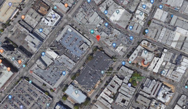 The chase of a stolen van early Tuesday, Dec. 12, 2017, continued past a closed 405 Freeway and eventually ended in dramatic fashing near Maple and Fifth streets in downtown Los Angeles -- right next to the LAPD Central Division Station. (Google Maps)