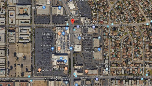 Two men were shot and killed early Friday, Dec. 15, 2017, near Van Nuys Boulevard and Chase Street -- near the Panorama Mall in Panorama City. (Google Maps)