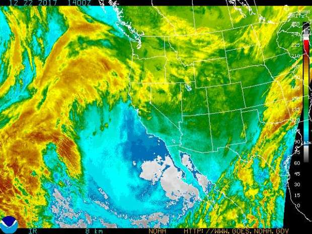 The enhanced infrared satellite image of the Western US for Friday, Dec. 22, 2017, shows considerable storm activity in the Pacific Ocean, and some in the Pacific Northwest and Northern California. But Southern California is dry and cold, with frost advisories declared in some areas. (Image courtesy of the National Weather Service)