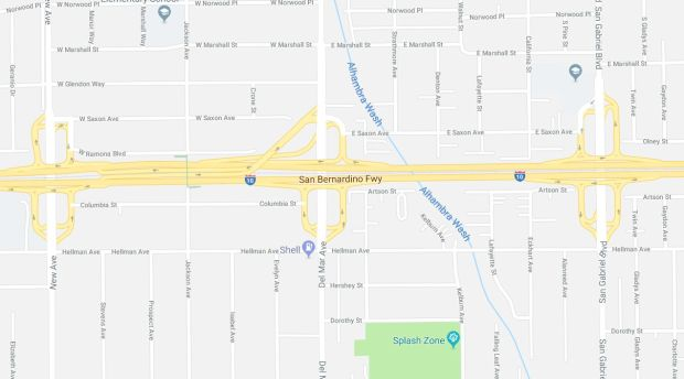 An approximately 50-year-old man died early Monday, Dec. 25, 2017, in a multi-vehicle crash on the eastbound 10 Freeway at Del Mar Avenue in Rosemead. Click for a largrer map. (Google Maps)