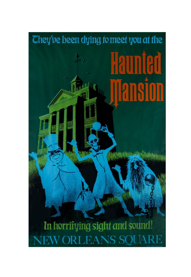"This 1969 hand-silk-screened poster advertising the Haunted Mansion and its ""hitchhiking ghosts"" sold for $6,500. (Description and photo courtesy of the Van Eaton Galleries, Sherman Oaks)"