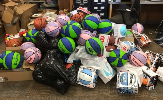 The mountain of balls is slowing growing in our newsroom.Photo by Larry Altman