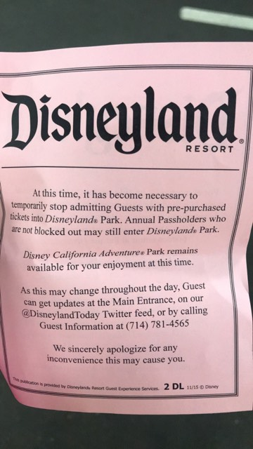 Disneyland closed its gates to new arrivals at 1 p.m. today, after a blown transformer shut down rides in Disneyland's Fantasyland and Toontown. (Courtesy photo)