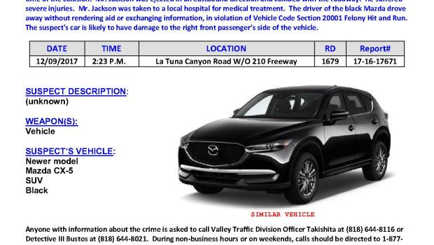 The Los Angeles Police Department are looking for a driver wanted in connection with a felony hit and run that took place on Dec. 9, 2017 in Sun Valley. Courtesy LAPD