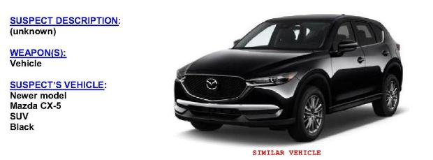 The LAPD is looking for this Mazda SUV that struck a bicyclist on La Tuna Canyon Road in Sun Valley.