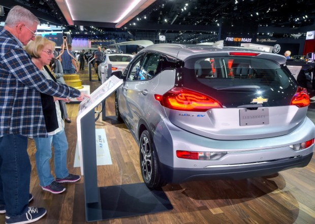 Chevy Bolt EV is first affordable all-electric car to go 238 miles on a charge. As seen at the LA Auto Show. (Photo by Walt Mancini/Pasadena Star-News/SCNG)