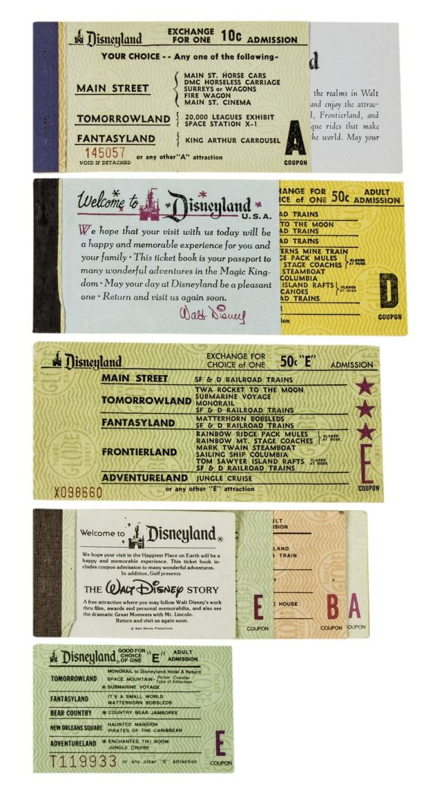 (Disneyland, 1956-80) A collection of (7) vintage Disneyland ticket books and loose tickets from between 1956 and 1980. The collection includes rare tickets such as an E Ticket from 1959 (the first year E Tickets were introduced), as well as an early A Ticket from 1956. These assorted tickets feature a wide variety of attractions and show the park's changing lands and attractions over time. Description and photos courtesy of Van Eaton Galleries, Sherman Oaks, CA.