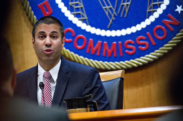 Ajit Pai, chairman of the Federal Communications Commission, speaks during an open commission meeting in Washington on Thursday. MUST CREDIT: Bloomberg photo by Andrew Harrer