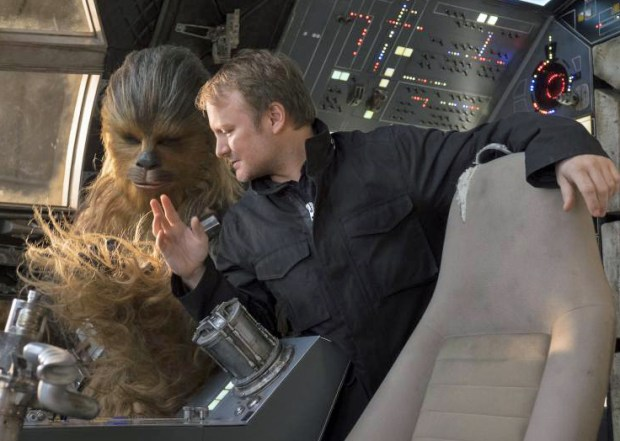 "Director Rian Johnson with the character of Chewbacca (Joonas Suotamo) on the set of ""Star Wars: The Last Jedi."""