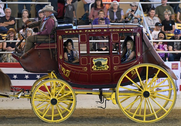Members of the Rose Court travel around the arena in a Wells Fargo stage coach at Equestfest, held at the Los Angeles Equestrian Center. The event showcased many of the equestrian units that will participate in the Rose Parade on New Year's Day. Burbank, CA 12/29/2017 (Photo by John McCoy, Los Angeles Daily News/SCNG)