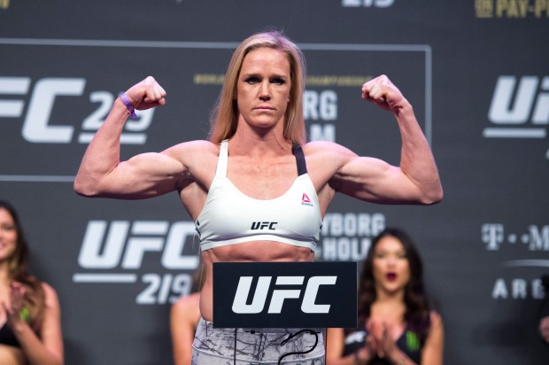 Women's Featherweight challenger Holly Holm during UFC 219 ceremonial weigh-ins at the T-Mobile Arena in Las Vegas, Nev., Friday, Dec. 29, 2017(Hans Gutknecht, Los Angeles Daily News/SCNG)