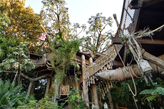 "Disneyland's Tarzan's Treehouse in Anaheim, California, on Thursday, Dec 14, 2017. Tarzan's Treehouse has concrete roots and the limbs are made from concrete-cladded steel. There are 300,000 plastic leaves all added by hand. It originally opened as the Swiss Family Treehouse in 1962, and is in Disney lingo calledÊ a ""disneyodendron semperflorens grandis,"" or a ""large ever blooming Disney tree."" (Photo by Jeff Gritchen, Orange County Register/SCNG)"