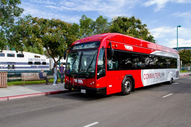 An example of the RTA commuter buses that will run to and from Disneyland, Riverside and San Bernardino