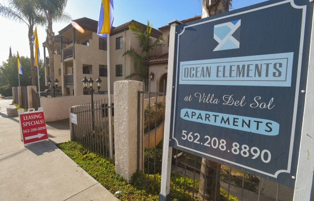 Leasing opportunities are available at this apartment complex in Long Beach on Tuesday, Jan 2, 2018. In 2017, Long Beach saw a 10.3 percent increase in rent, boosting its median price for a one-bedroom unit to $1,500. (Photo by Scott Varley, Press-Telegram/SCNG)