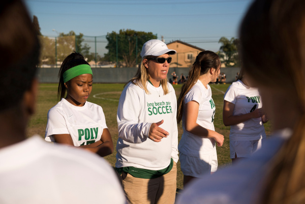 Former Long Beach Poly girls soccer coach Teri Collins alleges in a lawsuit that she was stripped of her coaching job for complaining about sexual harassment and gender discrimination. (2013 file photo by Josh Morgan/Orange County Register)