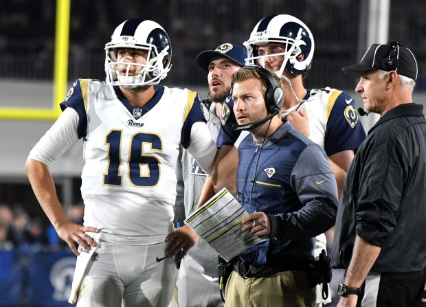 Los Angeles Rams head coach Sean McVay, right, with quarterback Jared Goff (16) look on as a play is reviewed in the first half of a Wild Card NFL football playoff game against the Atlanta Falcons at the Los Angeles Memorial Coliseum on Sunday, Jan. 06, 2018 in Los Angeles. (Photo by Keith Birmingham, Pasadena Star-News/SCNG)