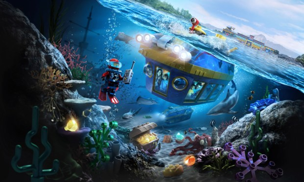 Artist concept painting of the new LEGOland California ride called LEGO City: Deep Sea Adventure scheduled to open at the theme park in Carlsbad in July 2018. Visitors will board 12-person submarines that will go beneath the water to view live undersea life in an ocean setting. Riders will also try to identify the life on screens in the submarine, scoring points as they go. (Courtesy, LEGOland California)