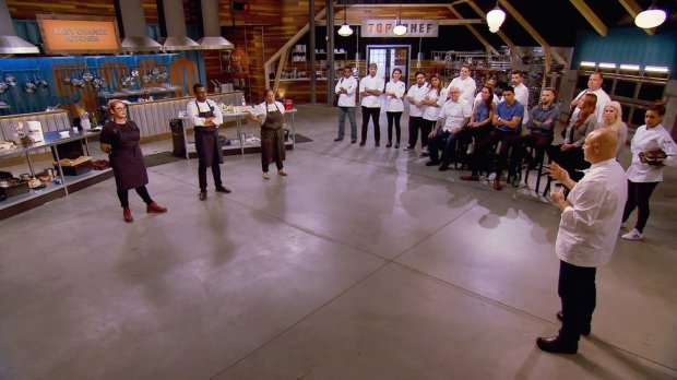 "TOP CHEF -- ""This Is Not Glamping"" Episode 1505 -- Pictured: (l-r) Claudette Wilkins, Kwame Onwuachi, Lee Anne Wong, Chris Scott, Tu David Phu, Carrie Baird, Bruce Kalman, Fatima Ali, Joseph Flamm, Tyler Anderson, Laura Cole, Rogelio Garcia, Joe Sasto, Marcel Vigneron, Brother Luck, Melissa Perfit, Jennifer Carroll, Tom Colicchio, Adrienne Cheatham -- (Photo by: Bravo)"